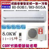 CSPF更節能省電【HERAN 禾聯】8.0KW 11-15坪 一對一 定頻單冷空調《HI-80B/HO-805》全機3年保固