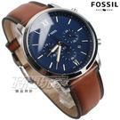FOSSIL 羅馬三眼多功能計時碼錶 不銹鋼 藍面 漸層咖啡色皮帶 男錶 FS5453