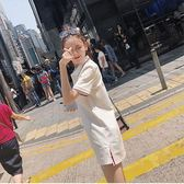 2018夏新款女慵懶風裙子超仙極簡主義polo小清新連身裙 艾尚旗艦店