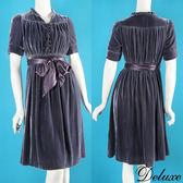 【Deluxe】復古氣質抓皺花邊絨布綁帶短袖洋裝(灰)