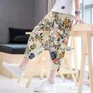 夏季亞麻短褲男裝休閒寬鬆中國風七分褲哈倫褲海邊度假大碼燈籠男 黛尼時尚精品