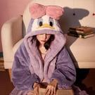 睡衣 春秋冬季睡衣女珊瑚絨睡袍加絨加厚學生可愛浴袍可外穿 韓菲兒