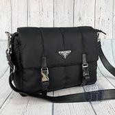 BRAND楓月 PRADA 1BD048 黑色 尼龍 皮革背帶 掀蓋開合 側背包 斜背包 中性