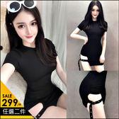 克妹Ke-Mei【AT46850】歐美赫本黑 性感側釦環摟空U領連身洋裝