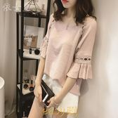 夏裝2018新款短袖t恤女韓版半袖寬松遮肚子雪紡衫時尚喇叭袖上衣