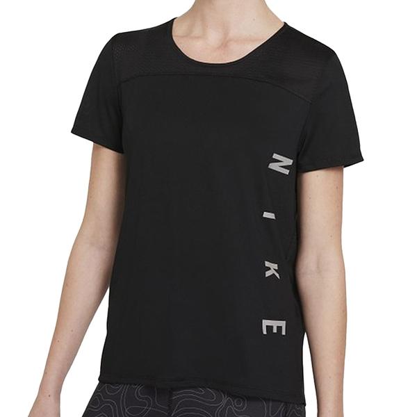 NIKE Miler Run Division 女裝 短袖 透氣 慢跑 可收納 反光 黑【運動世界】DA1247-010