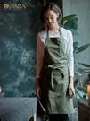 圍裙韓版時尚定制LOGO印字廚房餐廳花藝烘焙成人防油男女工作圍裙 快速出貨