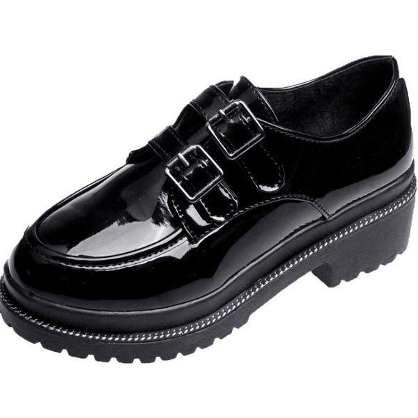 bf風女鞋高中學生2018春季新款單鞋女英倫風軟妹小皮鞋厚底森系鞋『櫻花小屋』