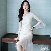 蕾絲連身裙女夏季2019新款韓版氣質半袖包臀荷葉邊魚尾洋裝中長款裙子 PA4407『紅袖伊人』