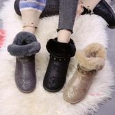 雪靴 2019冬季新款韓版雪地靴女加絨加厚網紅百搭短靴短筒棉鞋面包鞋女36-40碼 3色