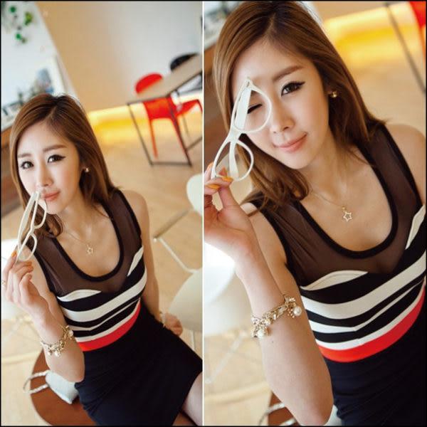 ~*艾美天后*~韓製版型日系新款條紋拼接修身包臀洋裝連身裙子