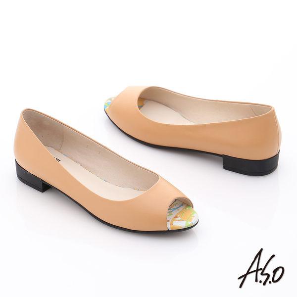 A.S.O 玩美涼夏 全真皮素面低跟魚口鞋  卡其