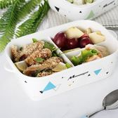 分隔陶瓷飯盒微波爐加熱專用帶蓋密封便當盒長方形水果碗學生食堂 萬聖節禮物