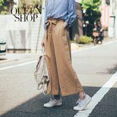Queen Shop【04110122】造型荷葉打折附綁帶寬褲 兩色售 S/M*預購*