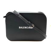 【台中米蘭站】全新品 BALENCIAGA 品牌字母烙印小牛皮斜背相機包(552370-黑)