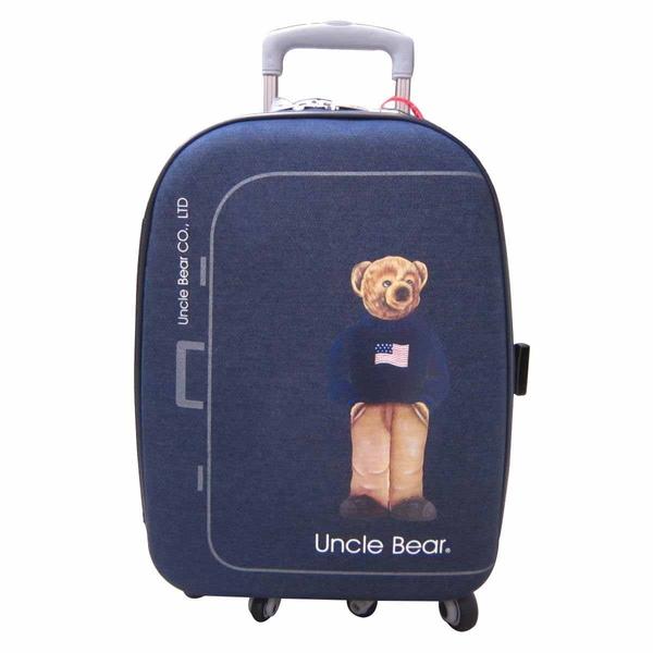 ~雪黛屋~Uncle Bear 熊熊叔叔25吋行李箱單寧防水布新式三段式鋁合金拉桿可加大附國際海關鎖 UB1020B