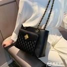 托特包 高級感包包洋氣女包2020新款潮韓版百搭側背包時尚菱格錬條單肩包【果果新品】