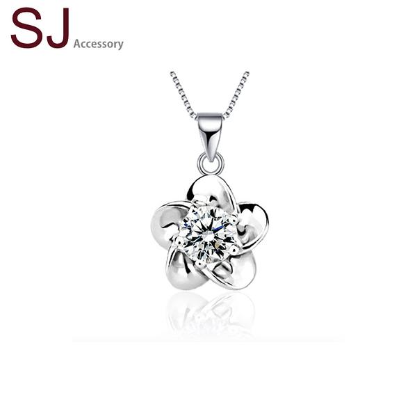 素簡手作《NS034》正白k~單鑽花朵鋯石水晶項鍊