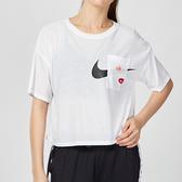 Nike Dry 女子 白色 短版 透氣 速乾 印花 微透 短袖 上衣 CJ3481-100