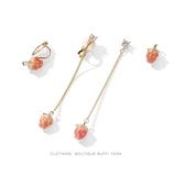 可愛草莓耳環女氣質韓國耳墜簡約無耳洞耳夾網紅純銀耳釘長款耳飾 韓小姐