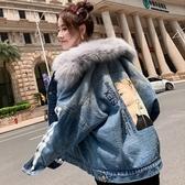 少女大毛領牛仔棉衣2020冬季加絨加厚中長款羊羔絨復古牛仔短外套