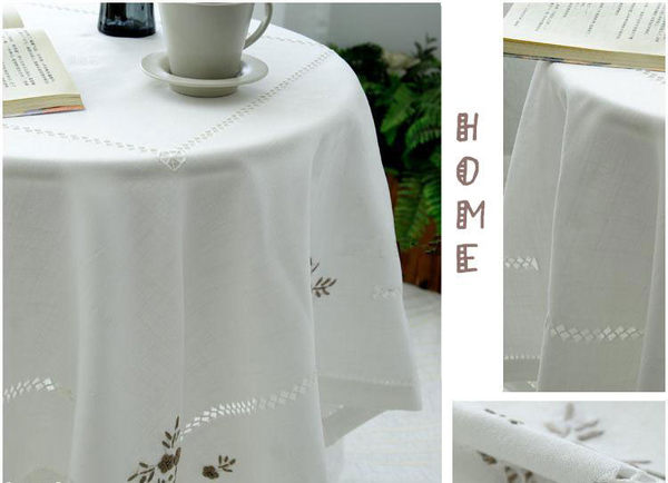 時尚美式鄉村刺繡可愛亞麻餐桌布 茶几布 蓋布 105*105cm