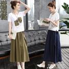 2021春裝新款時髦顯瘦棉麻連身裙女裝春夏亞麻套裝裙兩件套長裙子 夏季新品