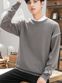 男士毛衣 秋冬男士毛衣正韓條紋圓領針織衫寬鬆薄款拼接套頭打底衫毛衣男潮