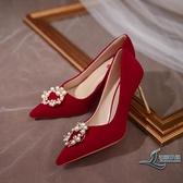 高跟鞋婚鞋大紅色高跟鞋新娘鞋珍珠套腳尖頭女鞋子【邻家小鎮】