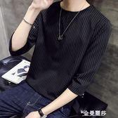 T恤 港風短袖t恤男韓版潮流男士寬鬆圓領套頭七分袖體恤帥氣半袖上衣 金曼麗莎