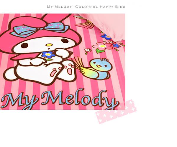 【享夢城堡】雙人床包涼被四件式組-My Melody美樂蒂 幸福彩色鳥-粉
