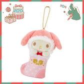 Sanrio SANRIO明星聖誕小鎮系列聖誕襪造型玩偶吊鍊(美樂蒂)★funbox生活用品★_252689