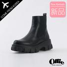 韓國Ollie 韓國空運 嚴選質感皮革 5cm顯瘦厚底 簡單風格 切爾西短靴【F720775】版型偏小/SD韓美鞋