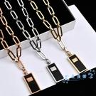 女士項鏈 歐美時尚鈦鋼鍍大號香水瓶吊墜女式中長款項鏈粗毛衣鏈