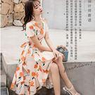熱情夏季花朵#度假風#交岔魚尾裙矲#波希米亞洋裝