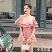 2020夏季新抹胸一字領露肩荷葉邊粉色連體褲女顯瘦性感連衣褲短褲 KV7139 『小美日記』