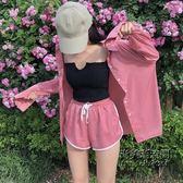德芙粉襯衫 運動休閒短褲 黑色針織抹胸時尚套裝女裝 萬聖節服飾九折