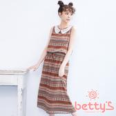betty's貝蒂思 異國圖纹雪紡無袖長洋裝(咖啡色)