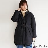 「Winter」休閒腰繫帶滾邊長版鋪棉大衣外套 - Green Parks