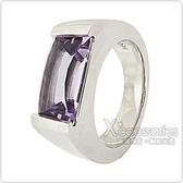 萬寶龍MONTBLANC 壓印LOGO紫寶石鑲飾寬版戒指(銀)