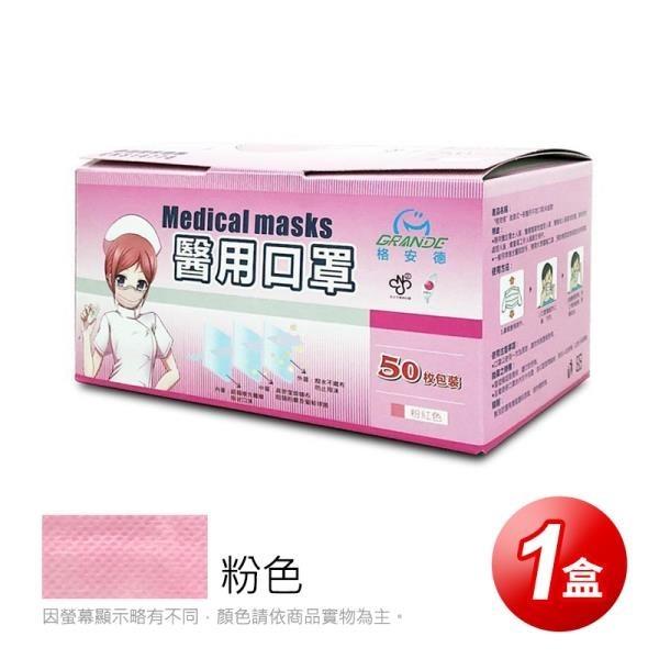 【南紡購物中心】【GRANDE格安德】醫用成人平面口罩(50片/盒),共1盒,粉色