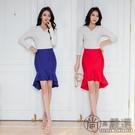 魚尾裙半身裙中長裙女夏2020新款不規則荷葉邊高腰包臀職業裙子