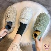 豆豆鞋  2019新款網紅百搭卷毛平底秋冬外穿羊羔毛豆豆鞋加絨白色毛毛鞋女