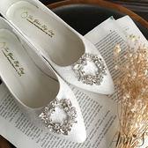 Ann'S祕密花園-白蕾絲鑽石花圈平底婚鞋-白