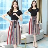 假兩件連身裙女夏季新款條紋闊太太高貴洋氣氣質貴夫人35一45T105.1號公館