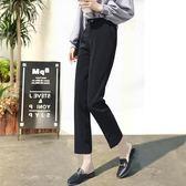 韓版直筒西裝褲女高腰九分褲夏季薄款學生雪紡寬鬆顯瘦白色休閒    電購3C