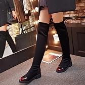 真皮過膝靴-時尚擦色圓頭內增高低跟女長靴2色73iv8[時尚巴黎]