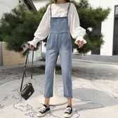 吊帶褲 女裝直筒寬鬆顯瘦學生吊帶褲復古九分小腳背帶牛仔褲女   蜜拉貝爾