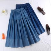 深淺配色剪接造型牛仔長裙 冬季防風長裙 均碼 深/淺藍雙色