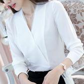 正韓OL上衣襯衫女大碼白色襯衣V領打底衫長袖雪紡衫 巴黎时尚生活